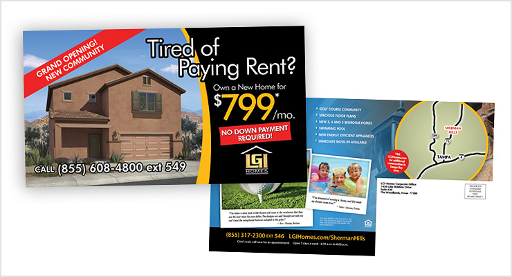 LGI Homes Mailer & Ad Designs