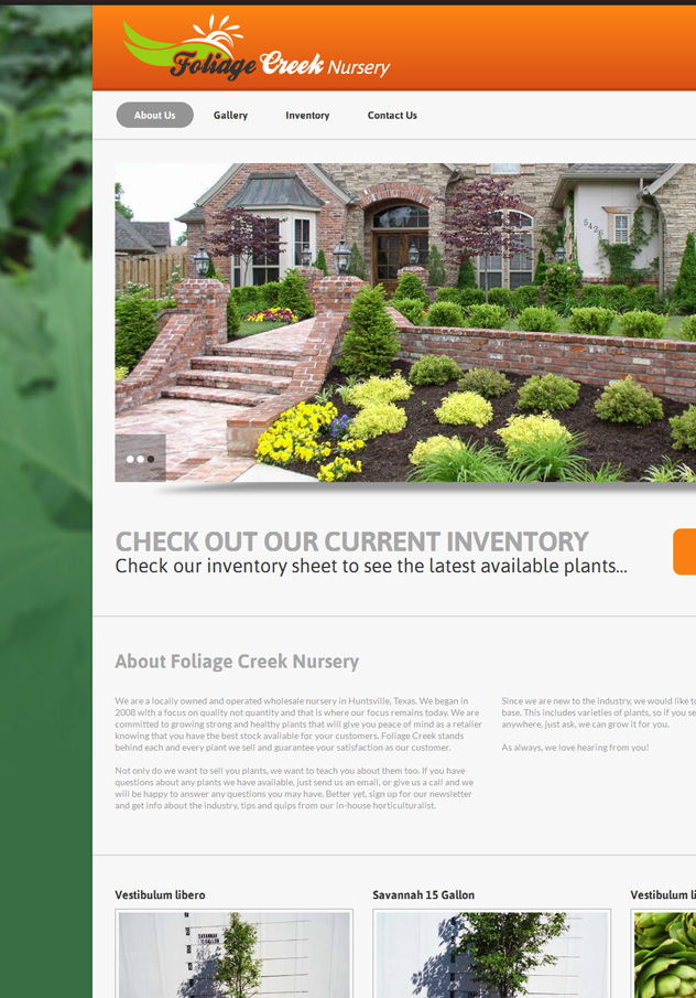Foliage Creek Nursery Website