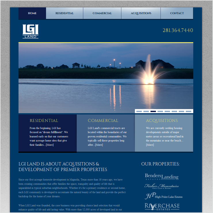 LGI Land Website Design