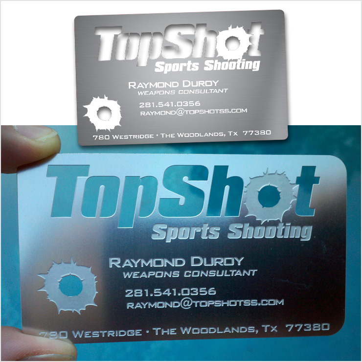 Redgiant creative our work print media top shot sports shooting top shot metal business card design houston tx reheart Images