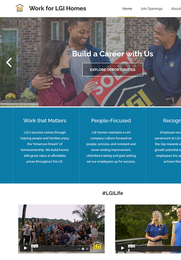 Work for LGI Homes Website